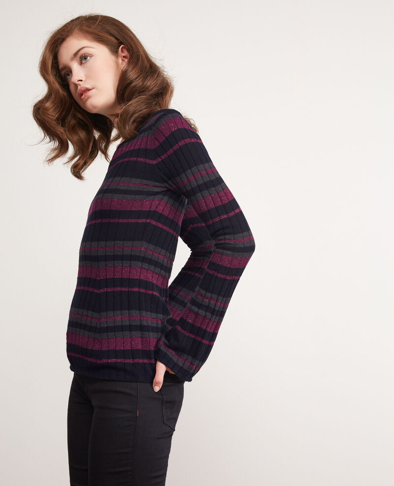 Ribbed wool jumper with high shine lurex inlay DARK NAVY/GRIS FONCE/PURPLE