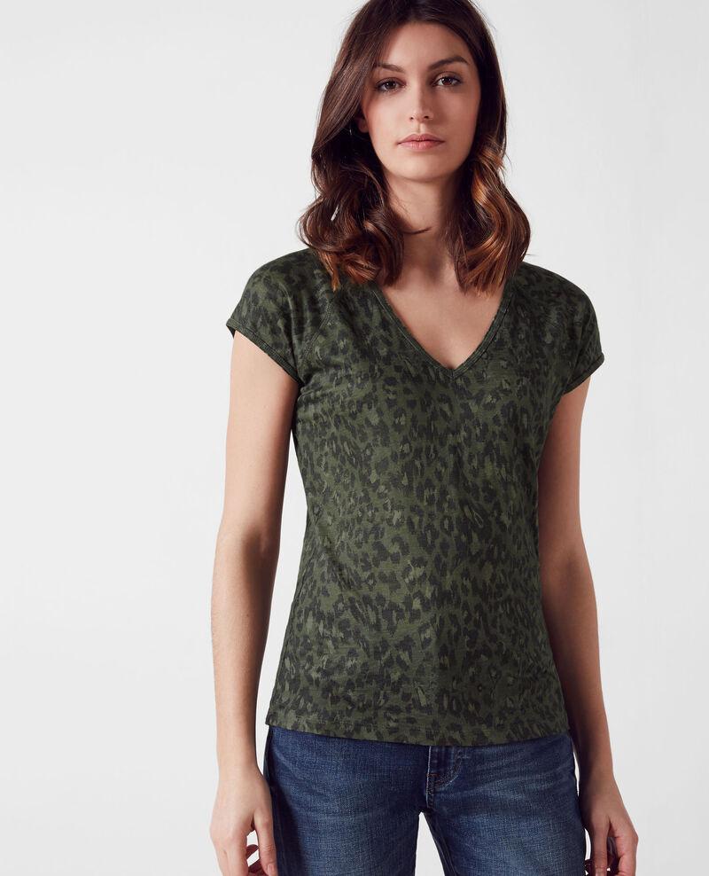 Linen print t-shirt Wild panthere dark kaki Curacao