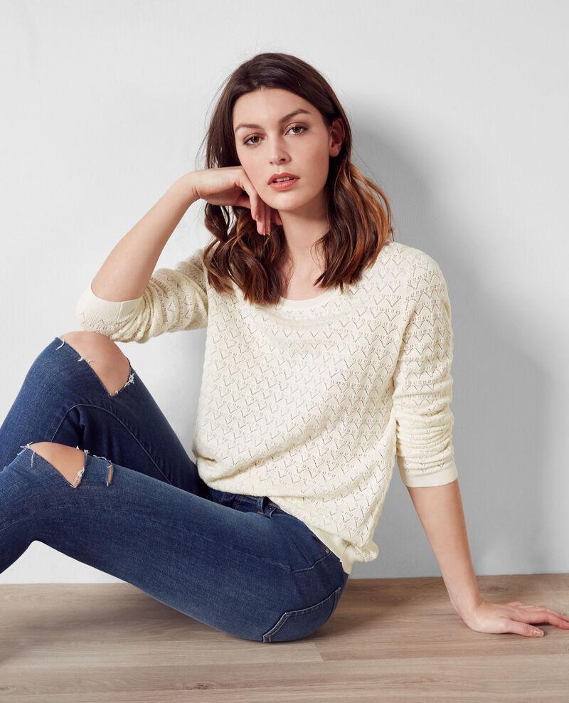 Openwork jumper with cashmere and trompe l'œil back Off white Cumin