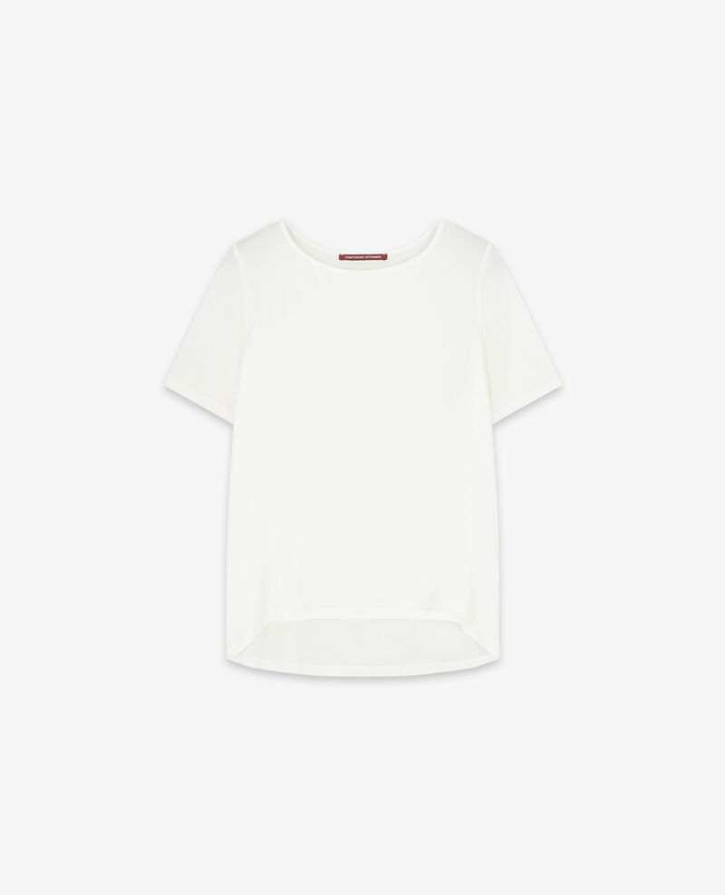 Silk panelled t-shirt Off white Dupalais