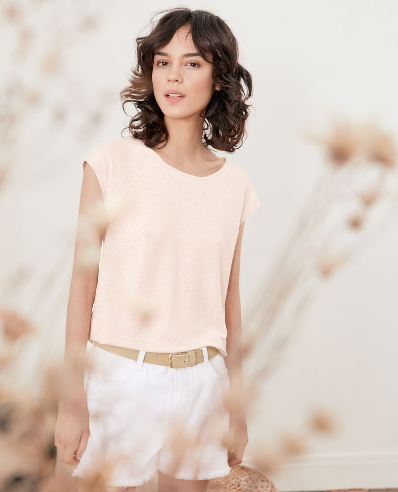 Iridescent T-shirt with linen NUDE
