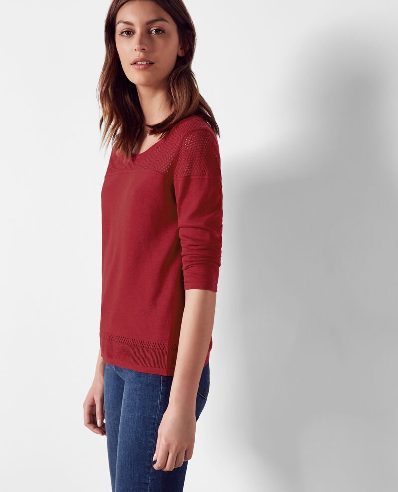 Jumper with openwork details Raspberry Carema