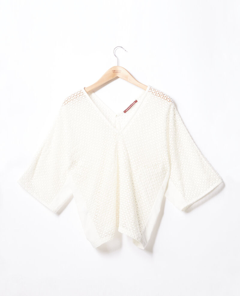 Bimaterial guipure blouse KAOLIN
