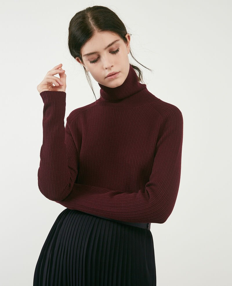 100% merino roll neck jumper Burgundy Dexter