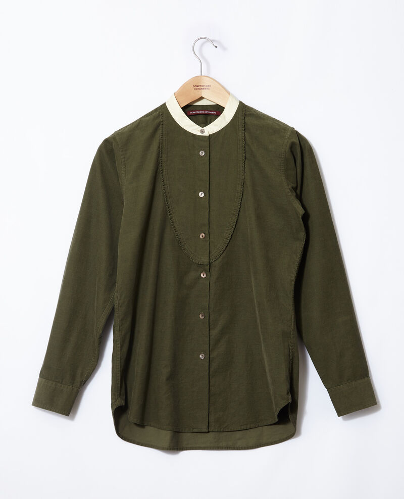 Velvet shirt with mandarin collar Olive night Goisette
