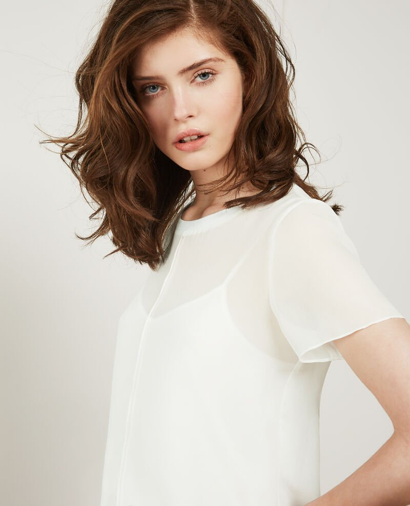 Long-sleeved silk t-shirt Off white Dartiste