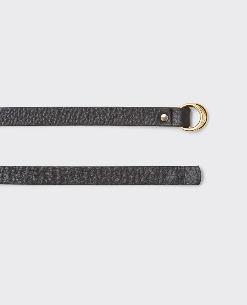 Thin leather double-wrap belt Noir Copernic