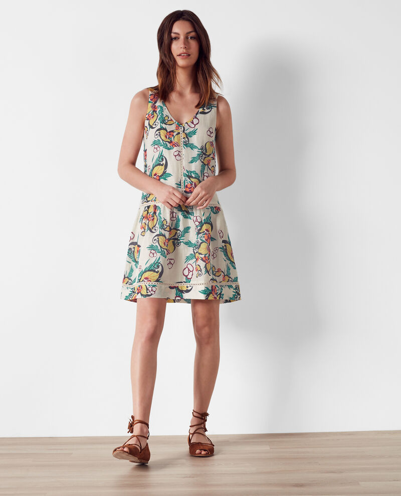 Linen and silk print dress Tropical off white Chicore