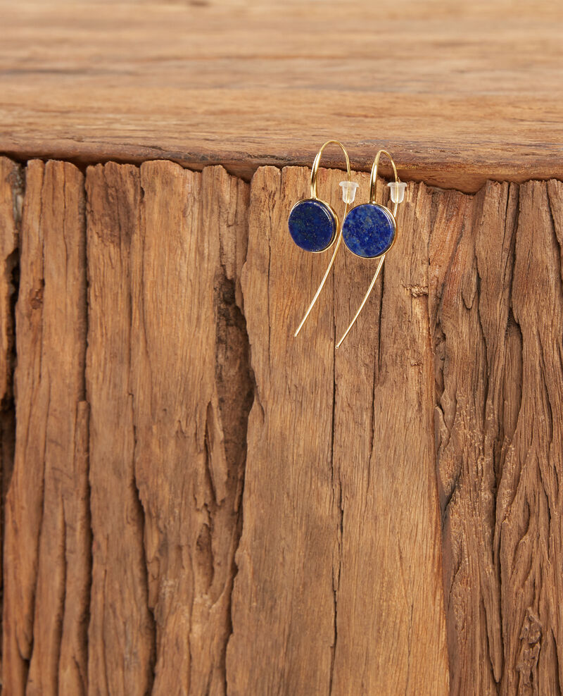 Earrings with round lapis lazuli pendant Gold/sapphire Doreille