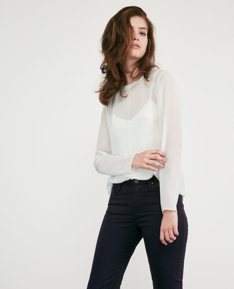 Long-sleeved silk t-shirt Off white Dalpestre
