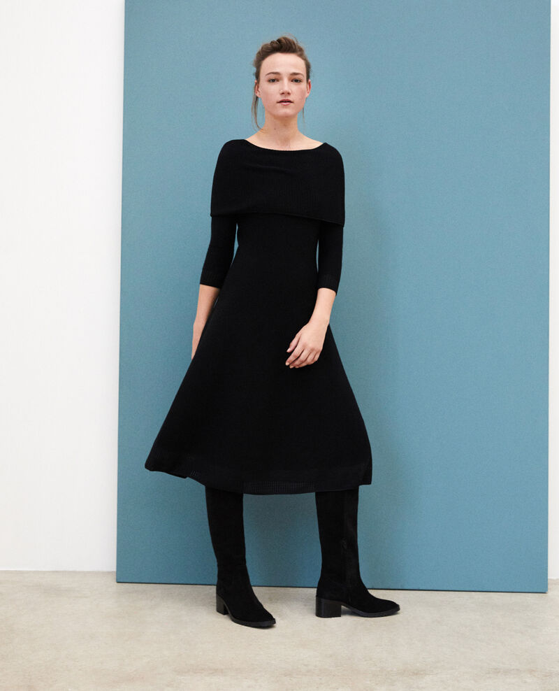 Wholegarment dress with adjustable collar NOIR