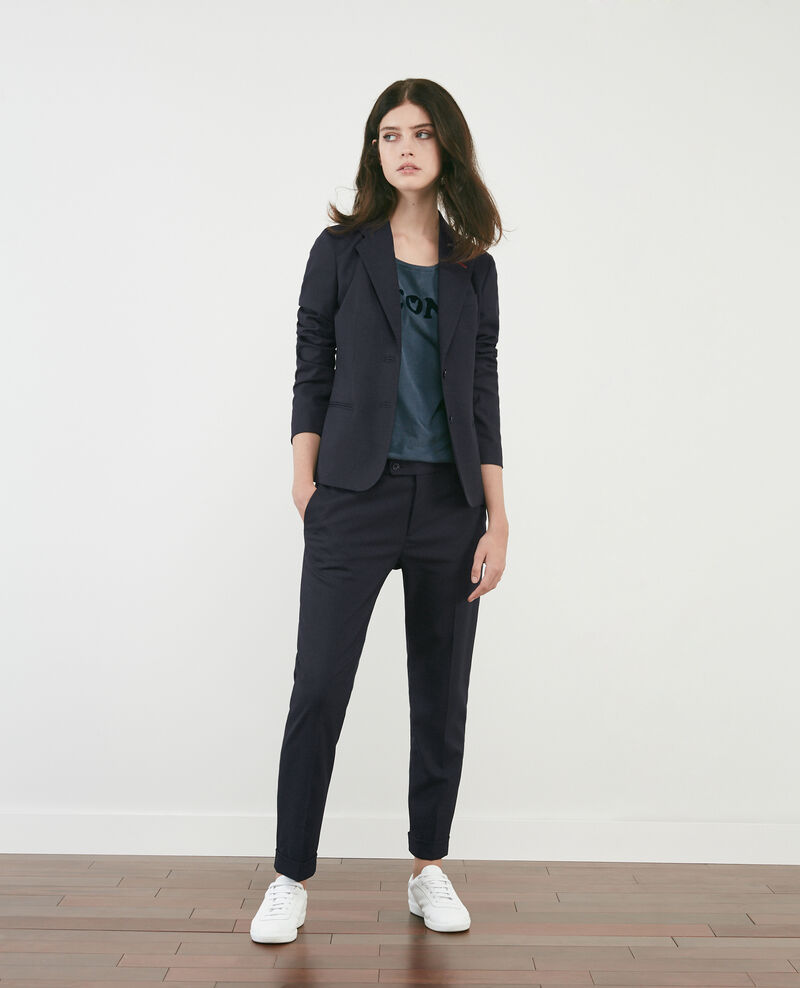 Loose trousers with darts Navy Dokyo