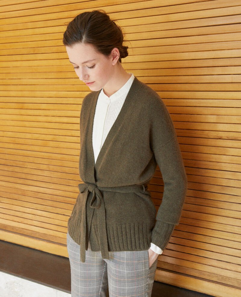Wrapover cashmere cardigan Olive night Germain