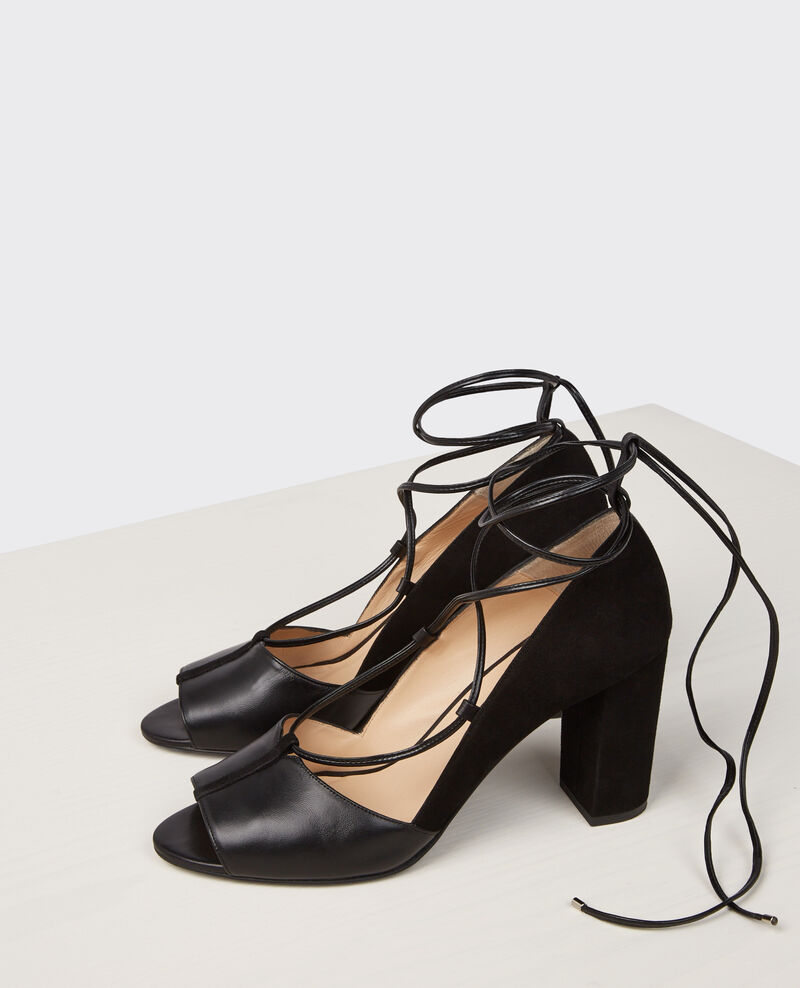 Open-toed lace-up heels Noir Cachette
