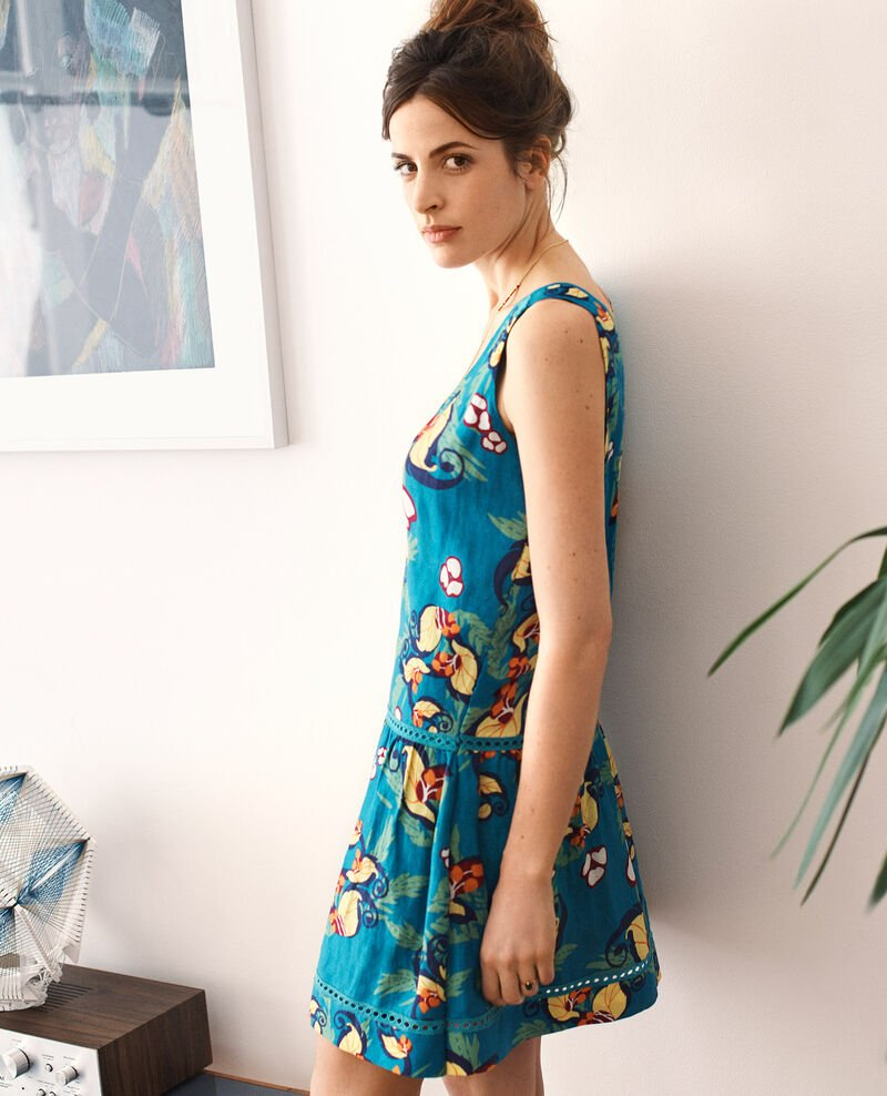 Linen and silk print dress Tropical jungle green Chicore