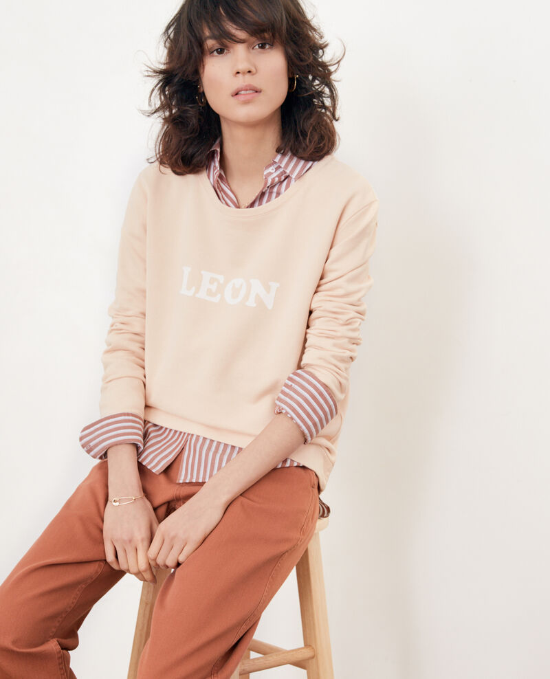 Embroidered Léon sweatshirt NUDE