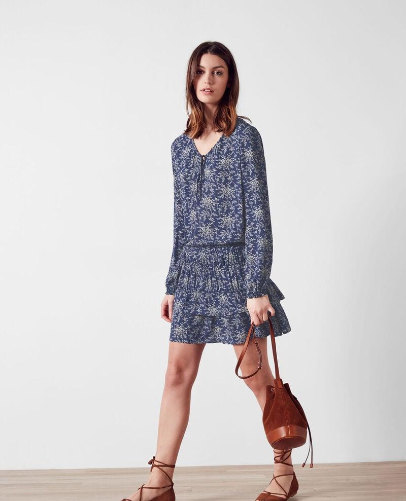 Print dress with frill Romantic garden ink blue 9cachou