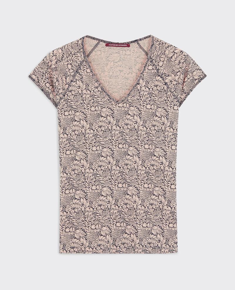 Linen print t-shirt Poetry flowers peach Confiture