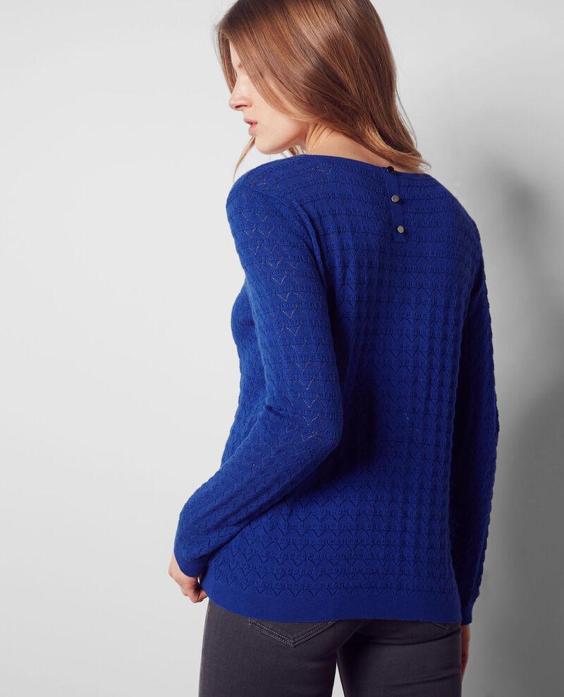 Openwork jumper with cashmere and trompe l'œil back Cobalt Cumin