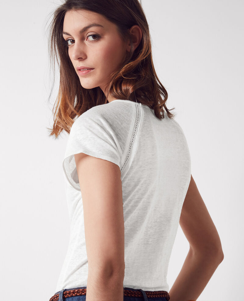 Linen t-shirt Off white Caramel