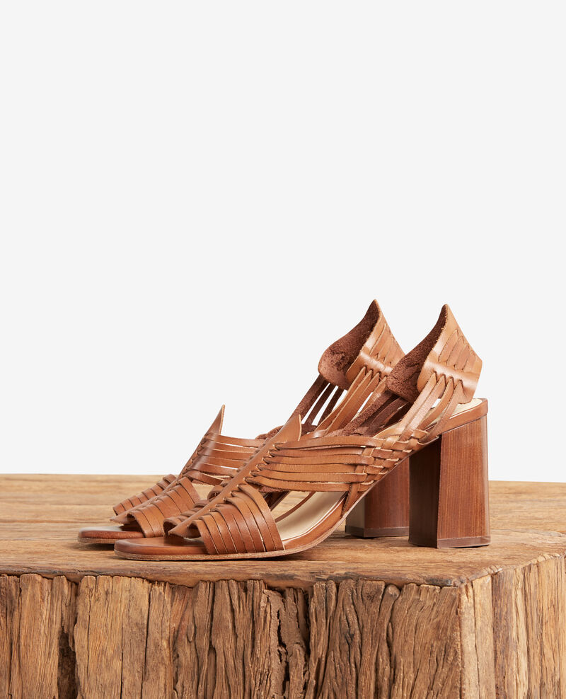 Braided sandals COGNAC