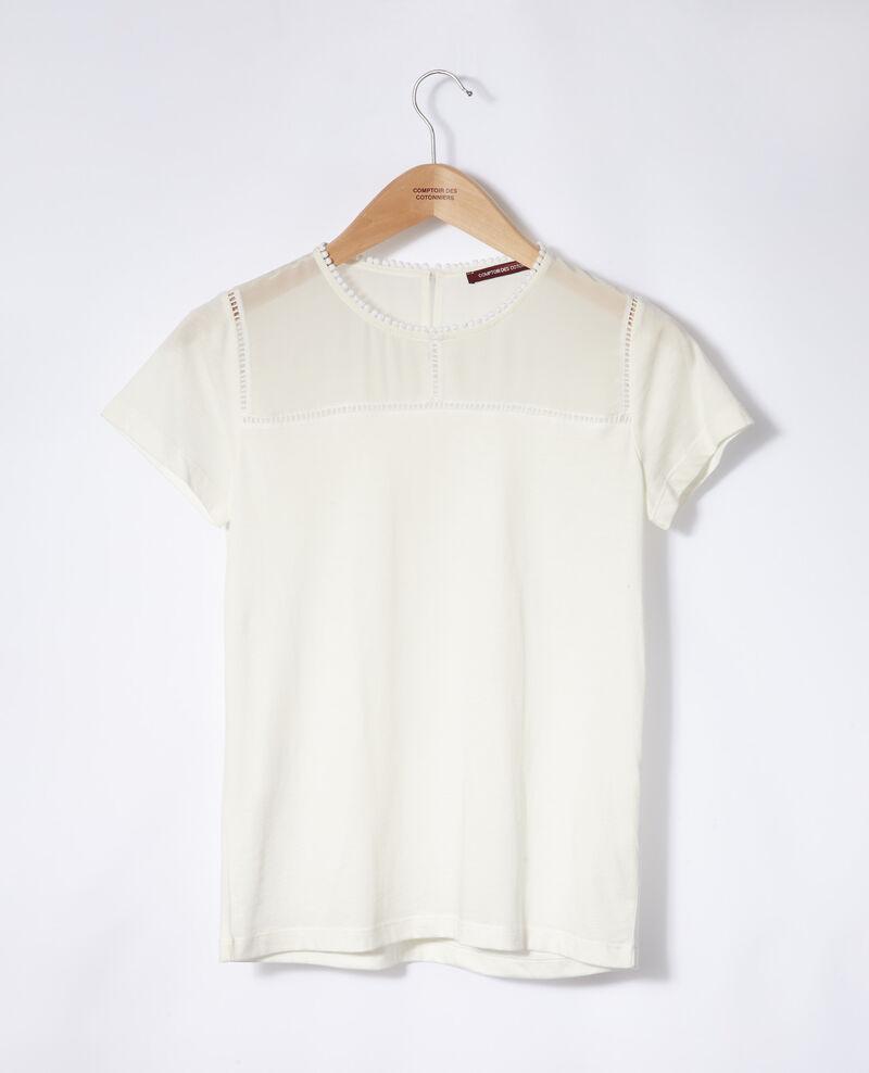 Bimaterial T-shirt Off white Gianni
