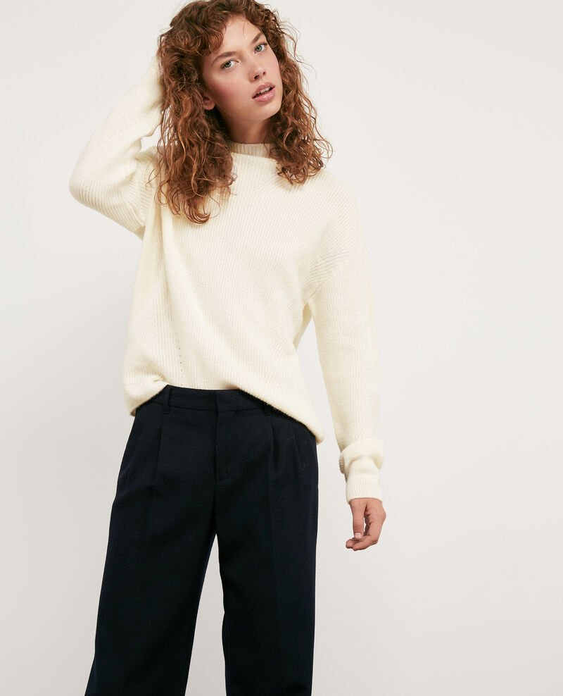 Woll and alpaca jumper OFF WHITE