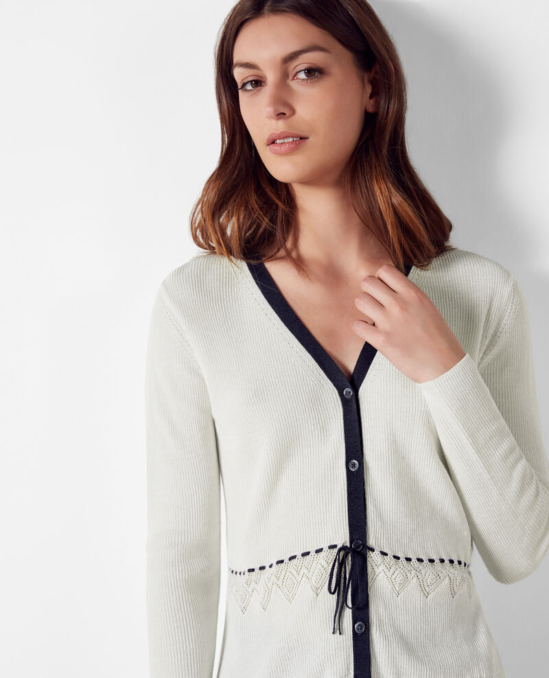 Linen and cotton fine-ribbed knit cardigan Off white Carigno