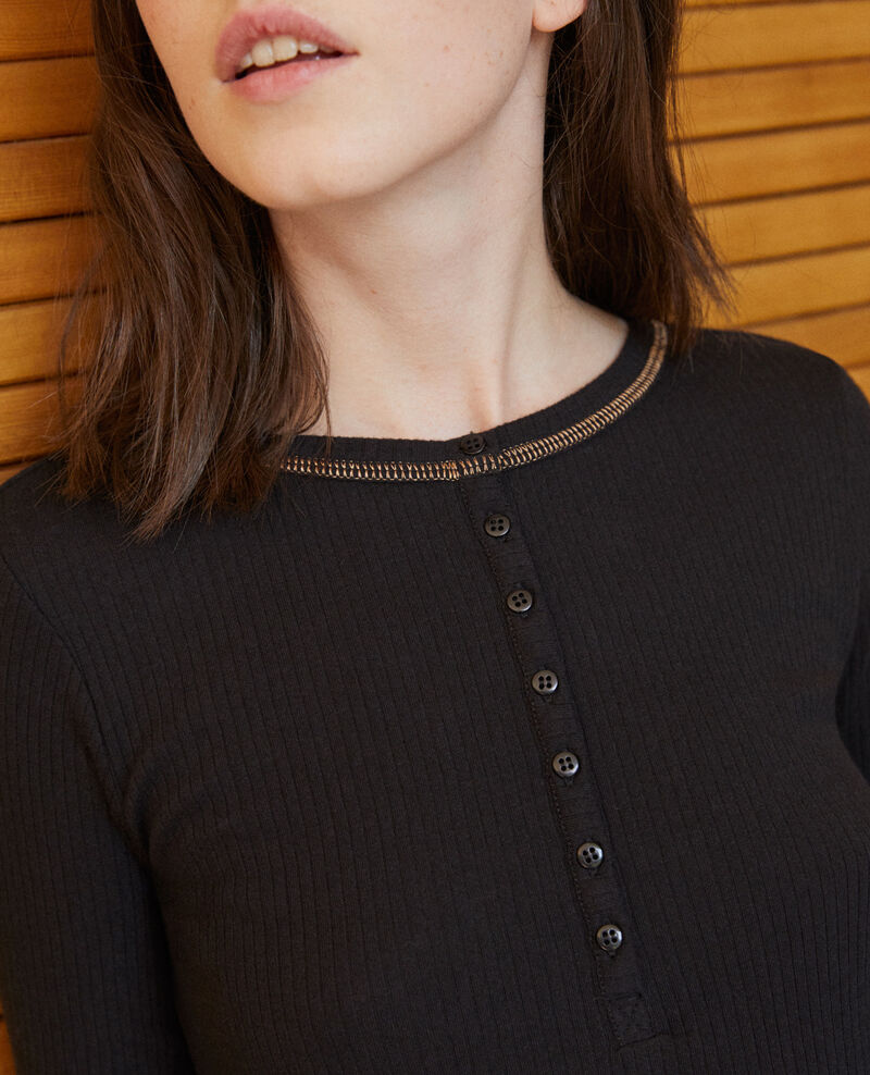 T-shirt with button tab Noir Grila