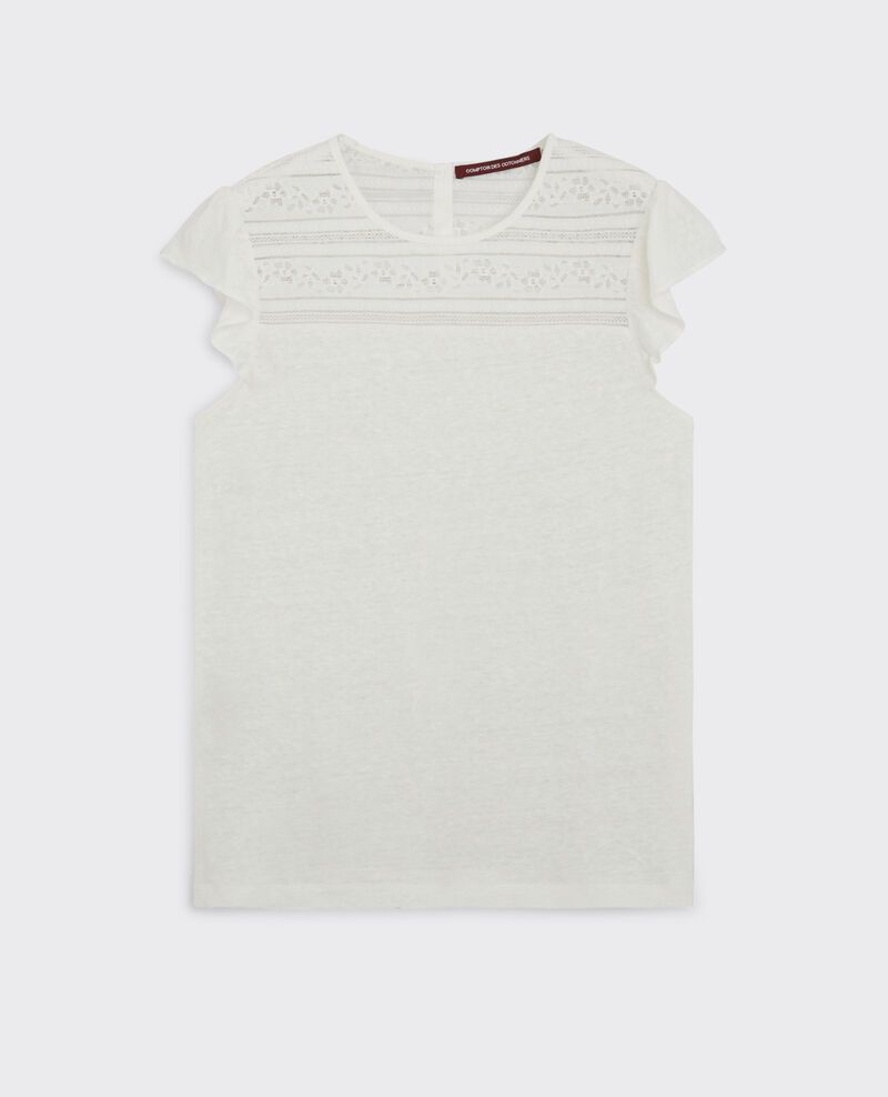 Linen t-shirt with lace detail and frills Off white Choupi