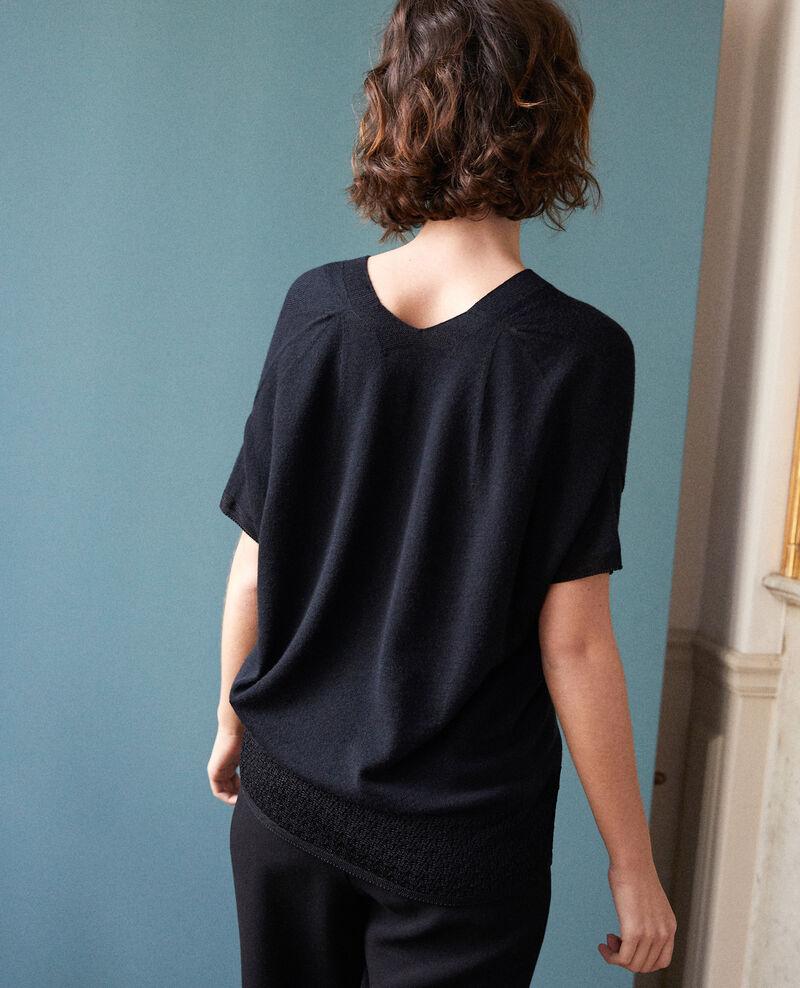 Zero-stitching short-sleeved knit Noir Gemilio