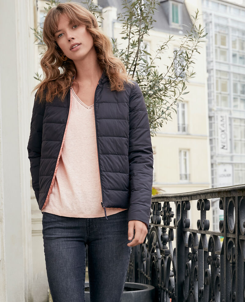 Reversible padded jacket with packable hood