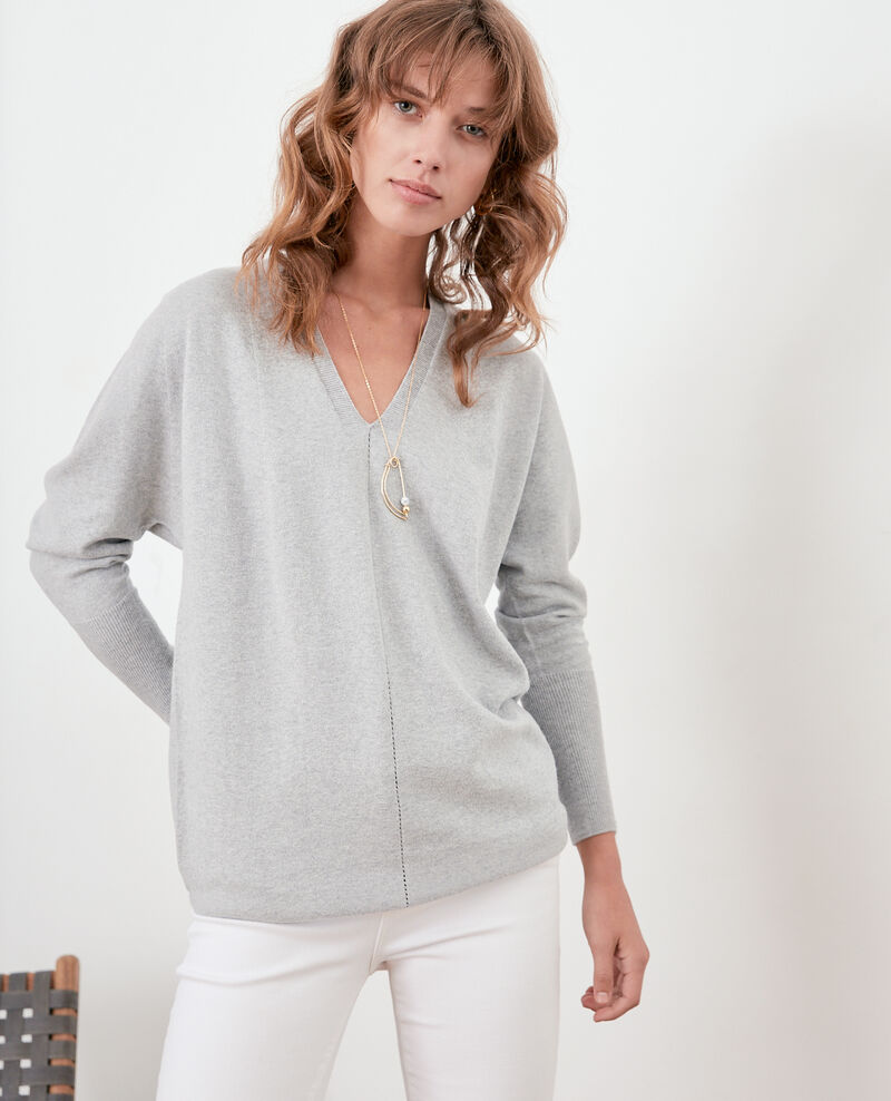 Oversize cotton and cashmere jumper LIGHT GREY