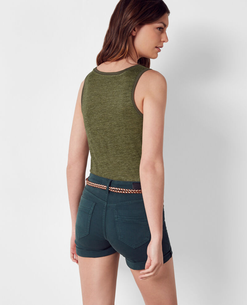 Linen tank top with embroidery detail Kaki/dark olive Caraibes