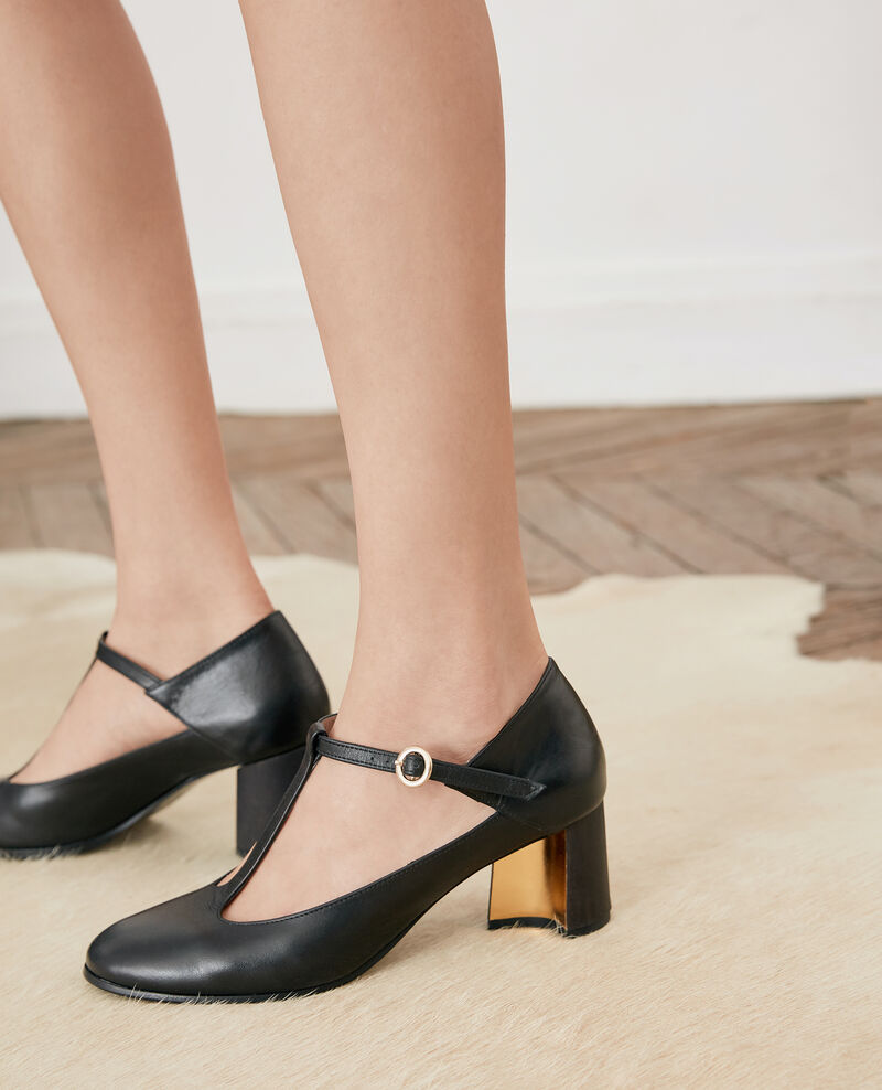 Leather Salome shoe Noir Fillette