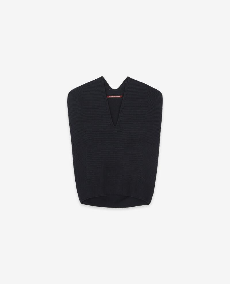 Seamless knitted short sleeve jumper Navy Dexterieur