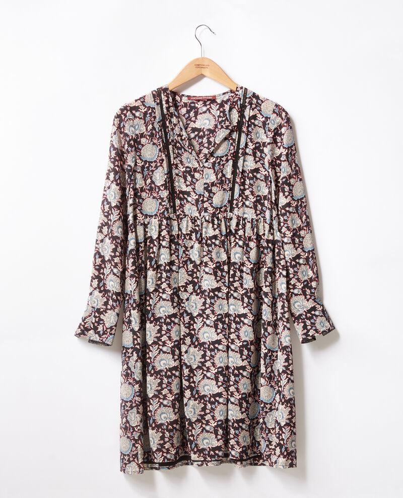 Printed silk dress Darjeeling black Fedora