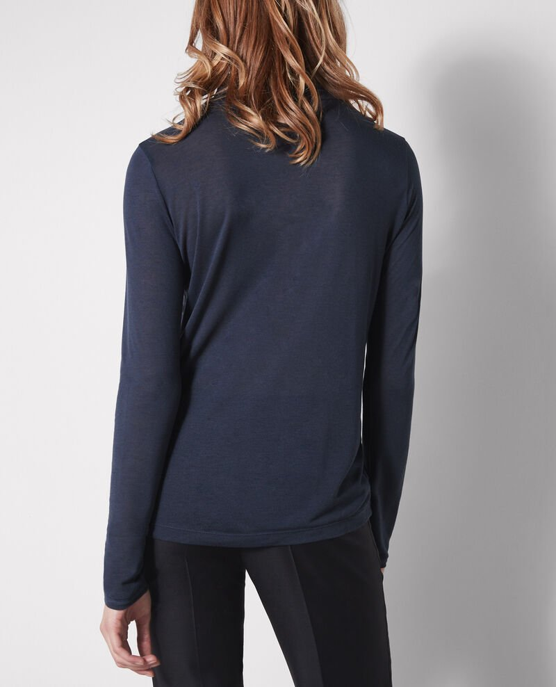 Long-sleeved, roll neck shirt in modal and cashmere Midnight Celadon