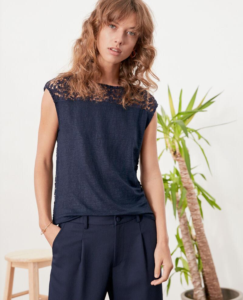 Linen t-shirt with lace back Navy Furbigo