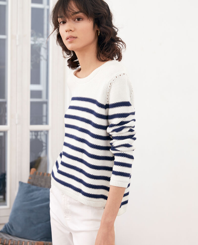 Breton striped jumper Off white/marine Faranou