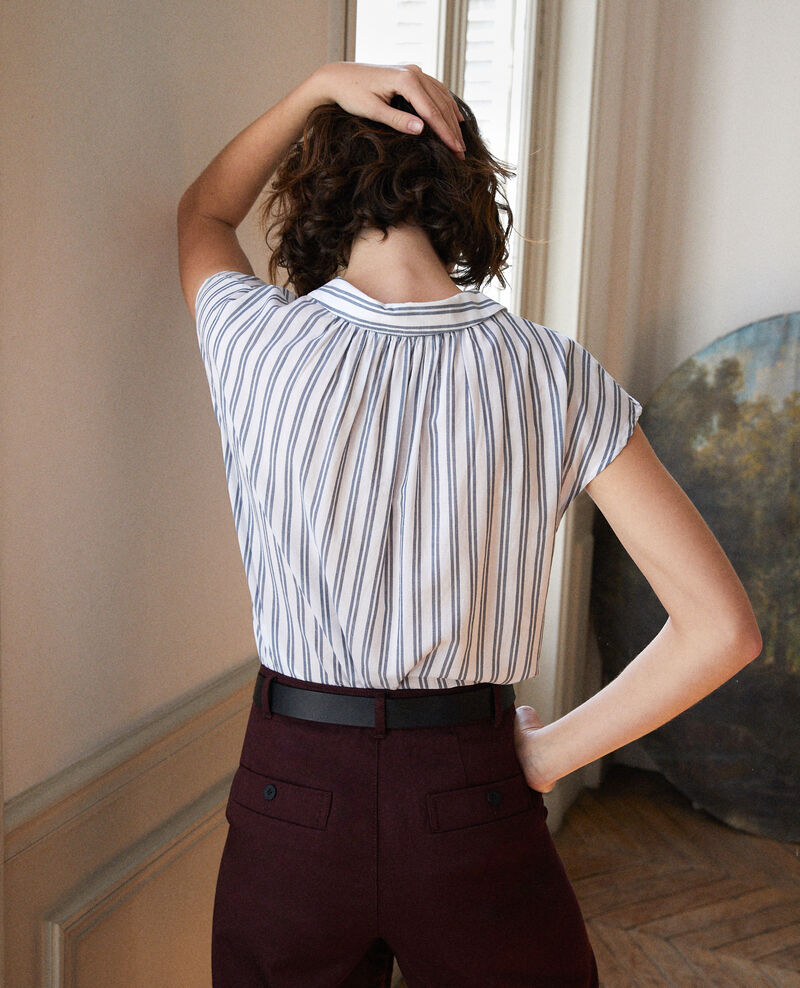 Shirt with round collar Off white/majolica blue stripes Garconne