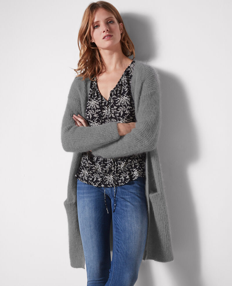 Long oversize cardigan with mohair and wool Iron grey - Clyde ...