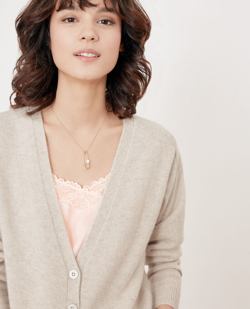 Cashmere cardigan HEATHER CHALK