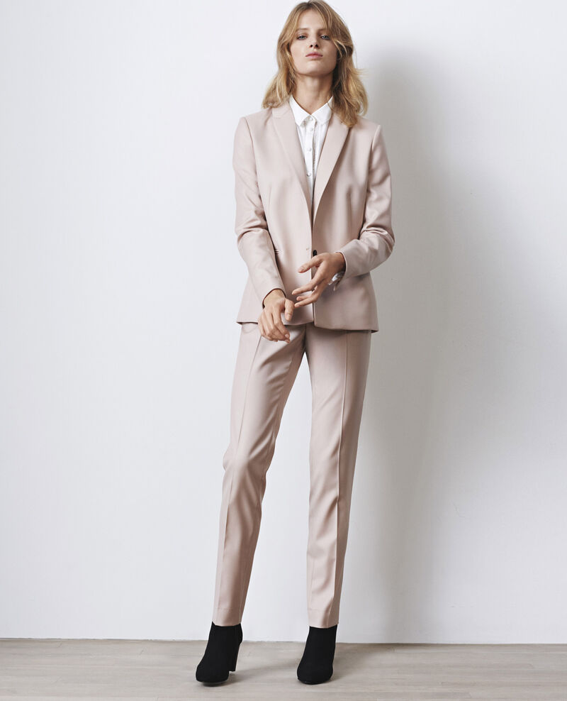 Wool cigarette-style office trousers Misty rose Calvados
