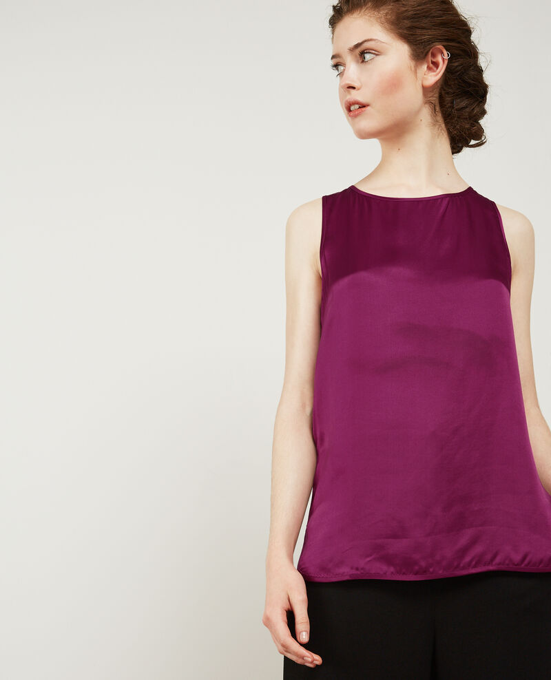 Silk panelled t-shirt Dark peony Dicton