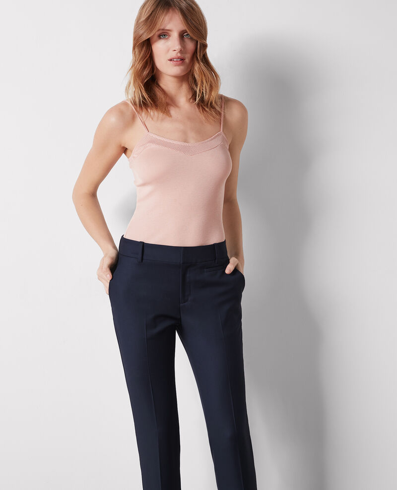 Wool cigarette-style office trousers Midnight Calvados