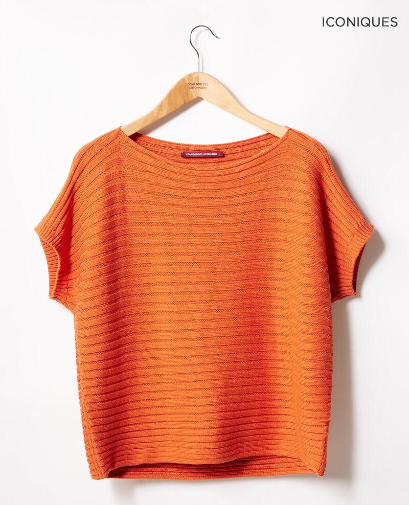 Short-sleeved seamless ribbed knit jumper Tangerine Falsi