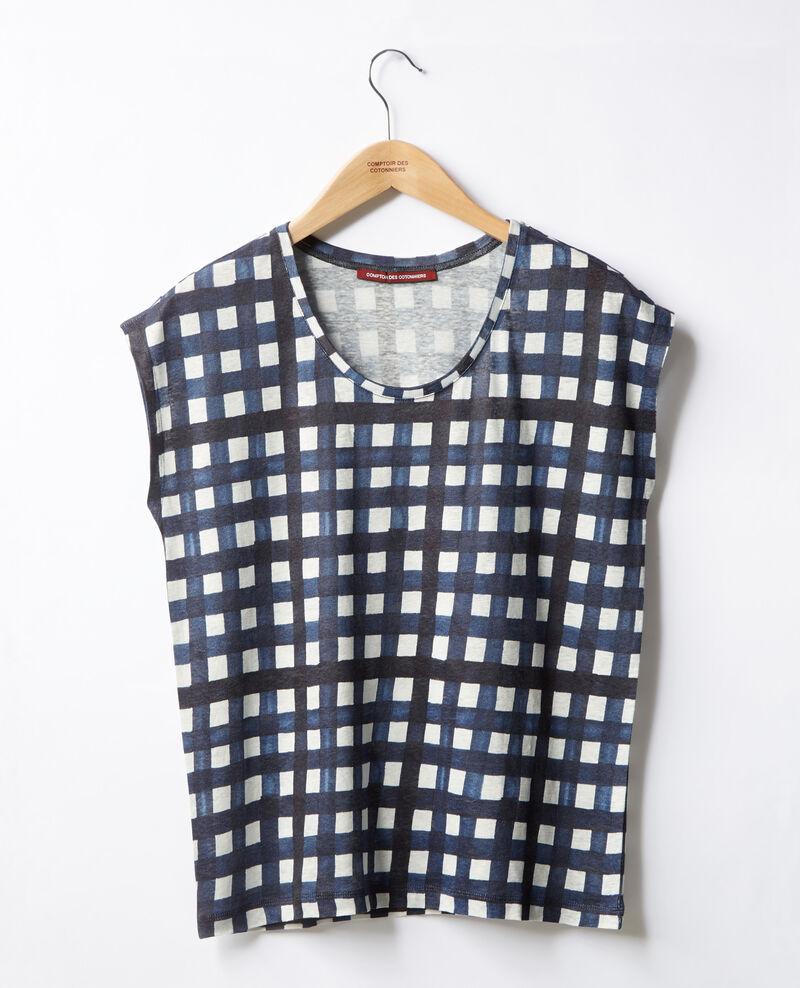 Printed linen T-shirt Ghingham big marine Fengshui