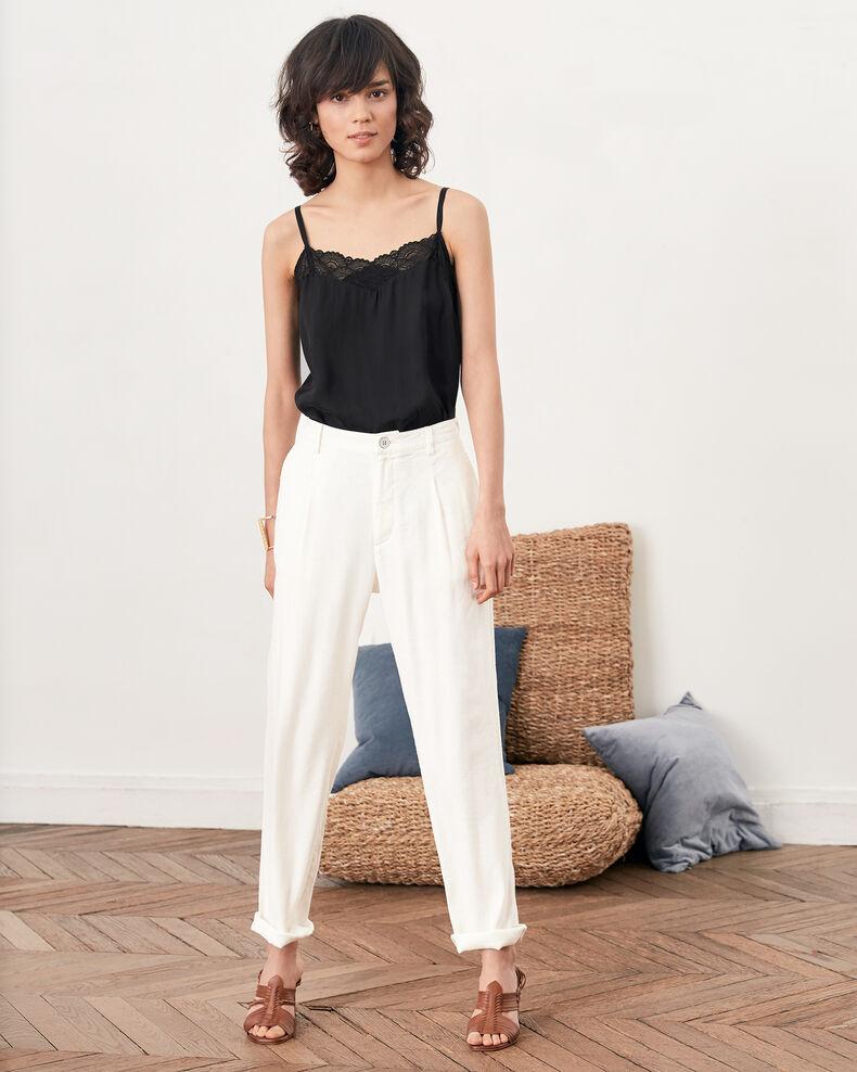 Linen blend trousers Kaolin Fabia