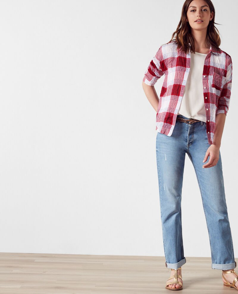 Crinkled tartan shirt  Crimson/off white Cinebella